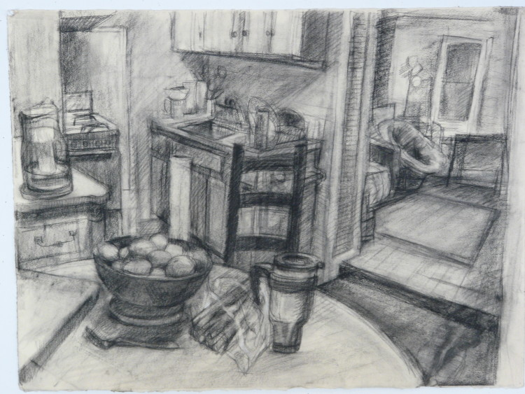 Ellsworth Kitchen - Charcoal Interior Drawing